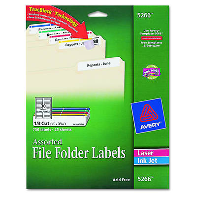 Avery Permanent Self-Adhesive Laser/Inkjet File Folder Labels, 750 Count - Assorted
