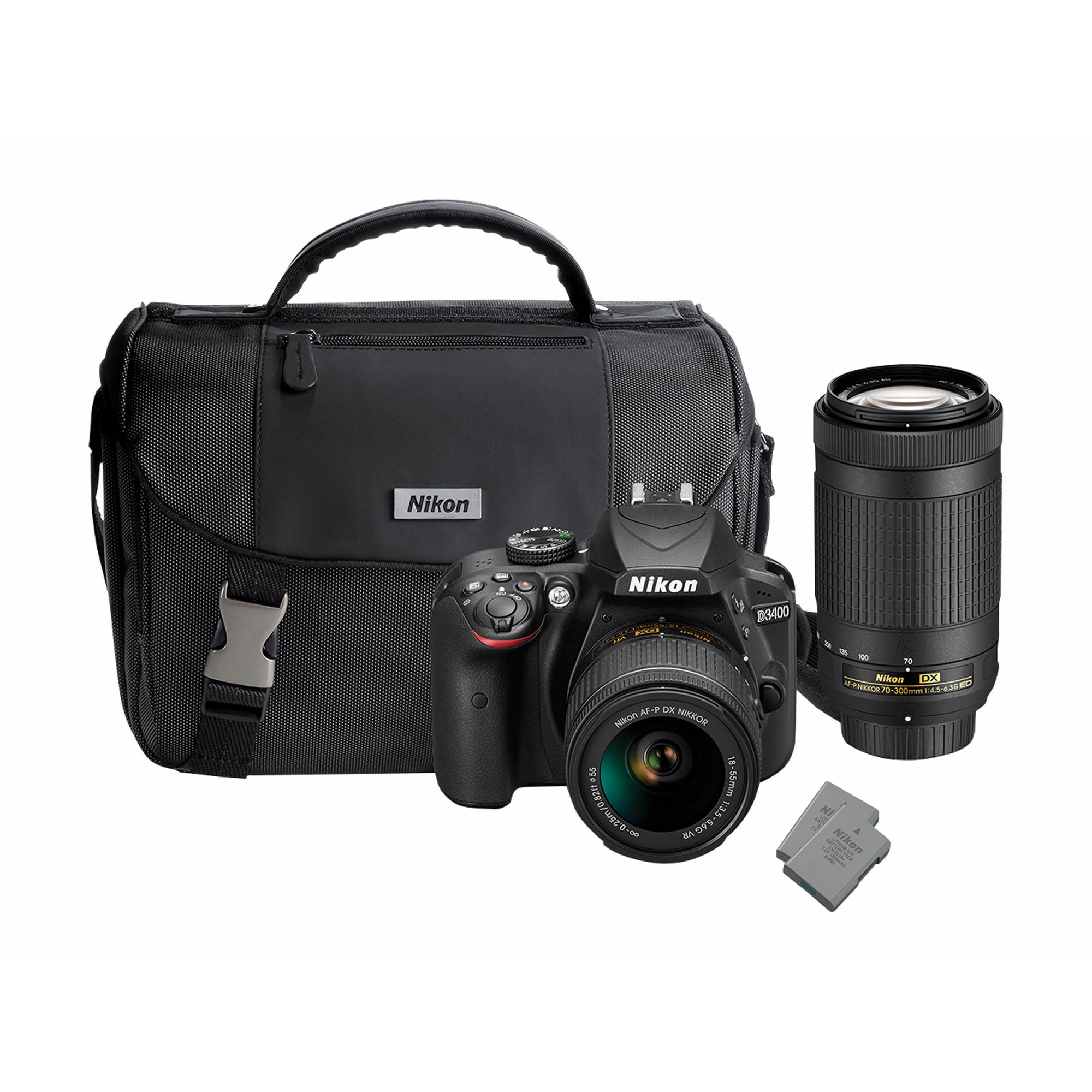 Nikon D3400 24.2MP CMOS DSLR Camera with 18-55mm VR and 70-300mm Lens, 32GB SD Card and Case