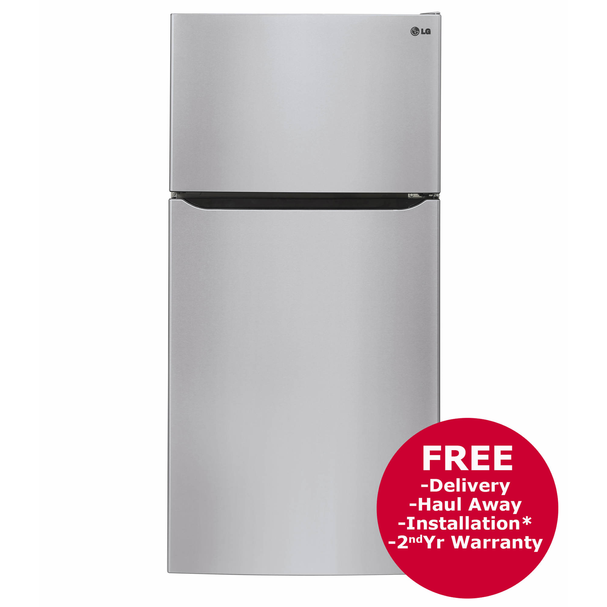 LG 24-Cu.-Ft.- Top-Mount Freezer Refrigerator with Built-in Ice Maker - Stainless Steel