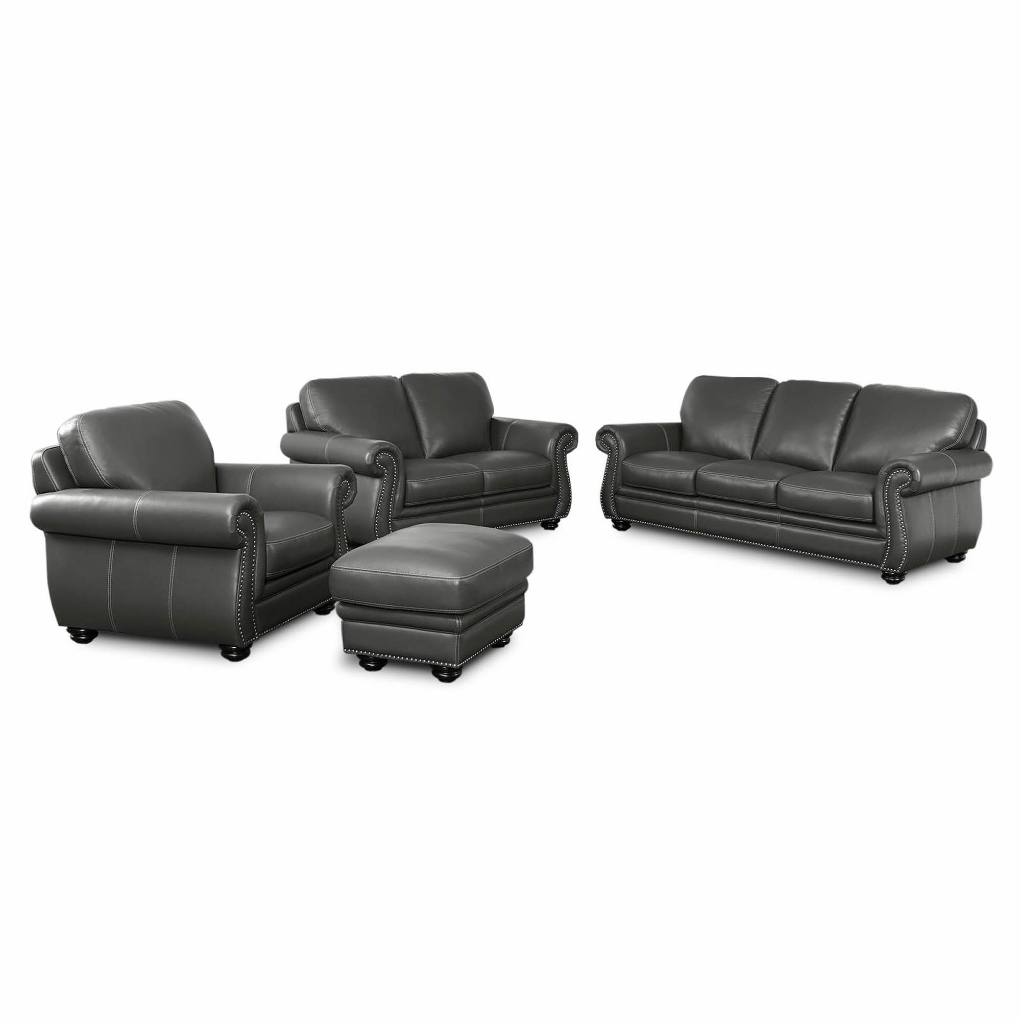 Abbyson Living Clementine 4-Pc. Top-Grain Leather Set - Gray