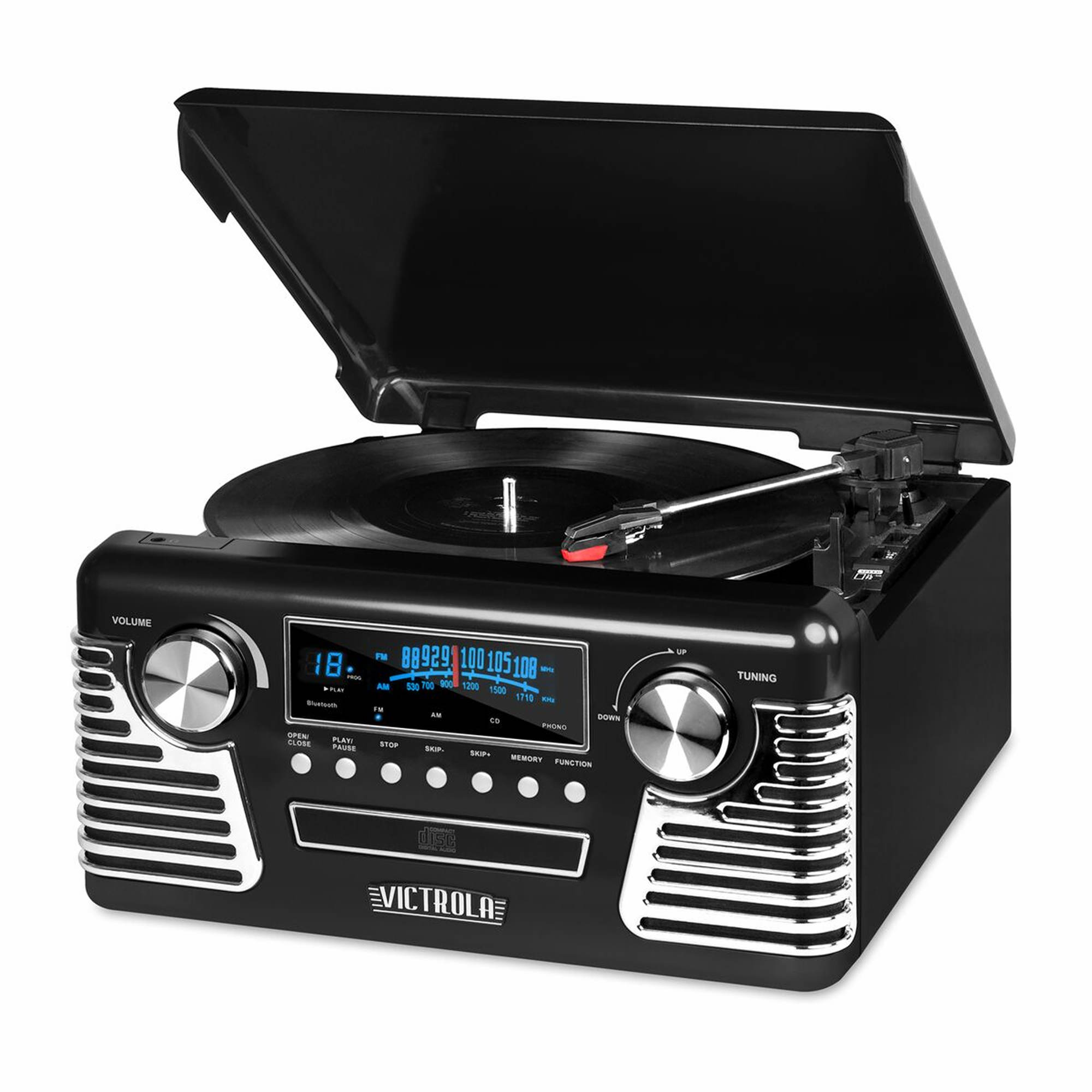 Victrola '50s Retro Record Player with Bluetooth and CD Player - Black