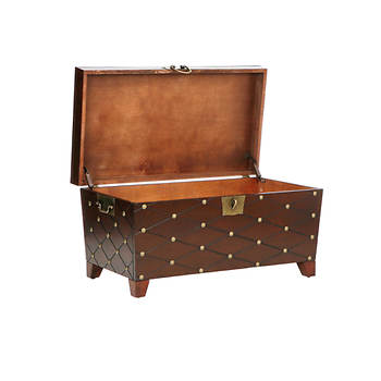 Sei verona brass stud cocktail table trunk espresso bj for Coffee table with studs