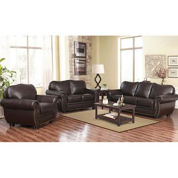 Abbyson Living Barrington Pc Top Grain Leather Living Room Set