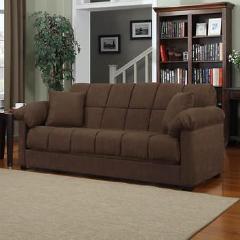 Handy Living Convert A Couch Full Size Sleeper Sofa Dark Brown