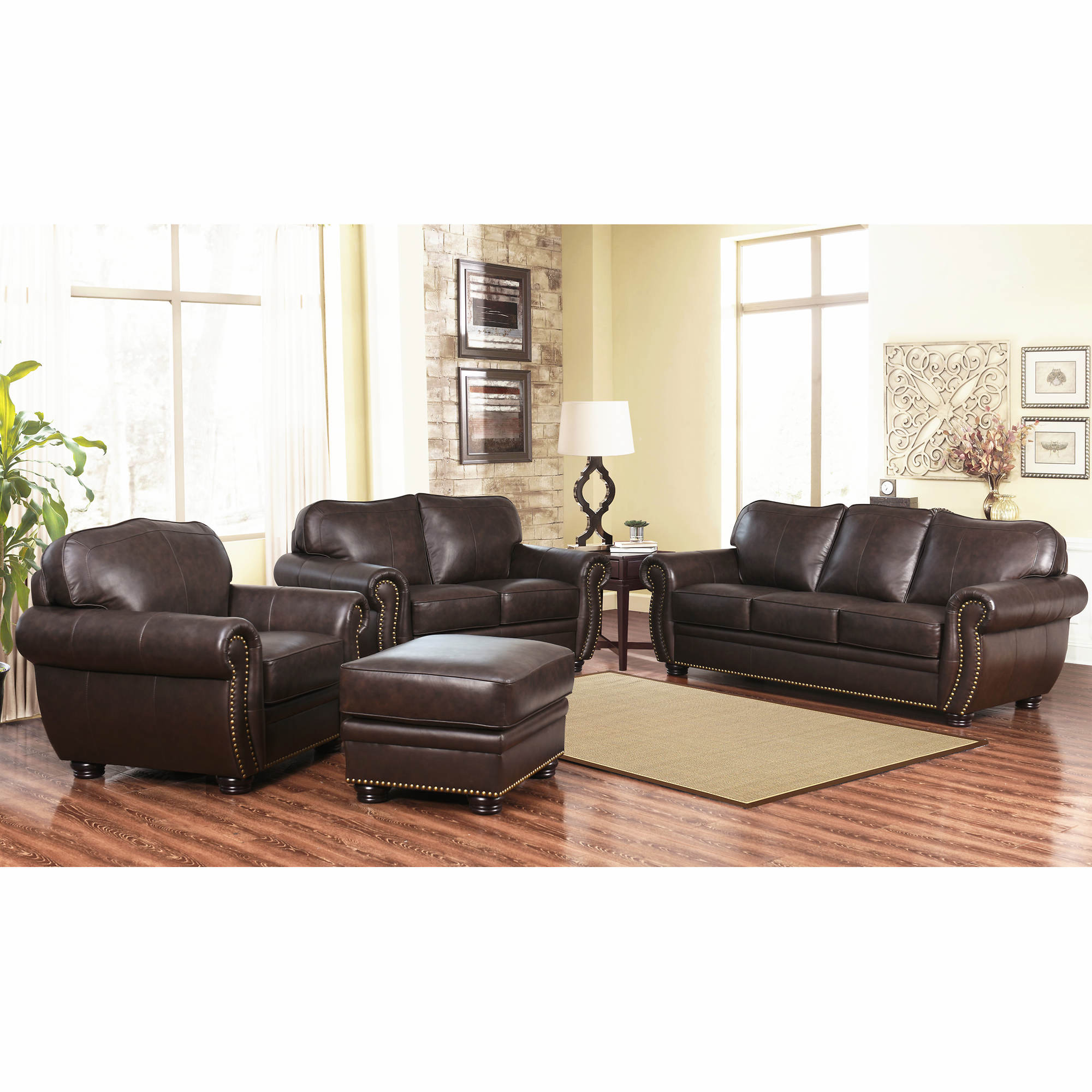 Top Grain Leather Living Room Set Abbyson Living Barrington 4 Pc Top Grain Leather Living Room Set