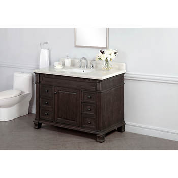 Lanza Kingsley 48 Vanity With Engineered Marble Top Distressed Finish Dark Chocolate Bj 39 S