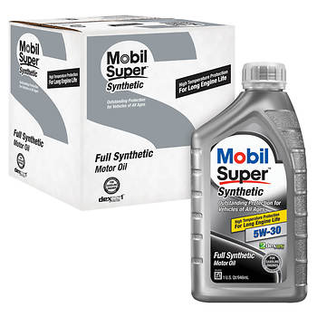Mobil 5w30 super synthetic motor oil 6 pk 1 qt bj 39 s for Synthetic motor oil coupons