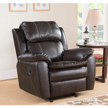 Abbyson living canyon leather rocker recliner dark brown for Abbyson living sedona leather chaise recliner