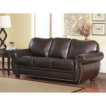 Abbyson Living Barrington  Pc Top Grain Leather Living Room Set