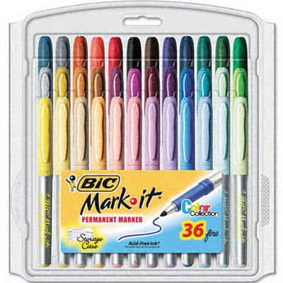 BIC Mark-It Permanent Markers with Fine Point - 36 per Pack (Assorted Colors)