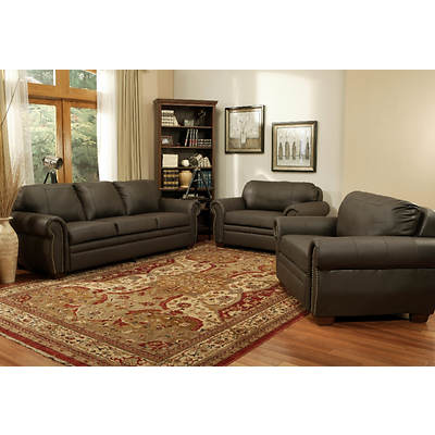 Abbyson Living Brownstone Leather 3-Piece Sofa and Chairs Set - Dark Brown
