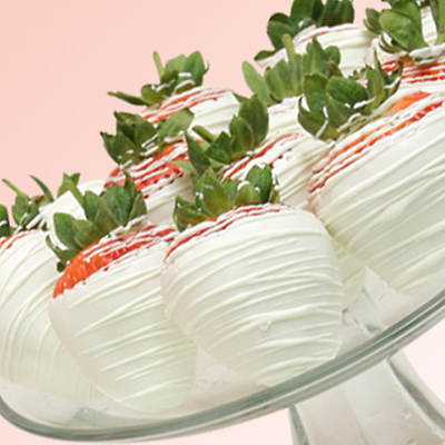 Belgian White Chocolate Covered Strawberries - 12 Count