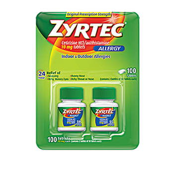 Zyrtec Allergy 10mg Original Prescription Strength Tablets, 100 Count