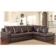 Abbyson Living Jordana Leather Sectional - Chocolate Brown