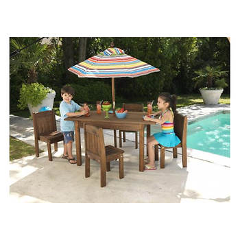 KidKraft Table and 4 Stacking Chairs with Striped Umbrella
