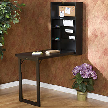 Fold-Away Wall Convenience Desk - Black