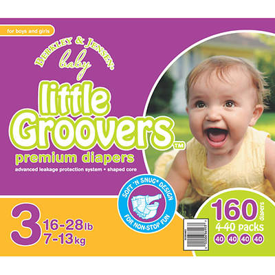 Berkley & Jensen Baby Little Groovers Size 3 Diapers - 160 Count