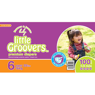 Berkley Jensen Baby Little Groovers Size 6 Diapers - 100 Count
