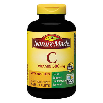 Nature Made 500mg Vitamin C with Rose Hips Caplets - 550 Count