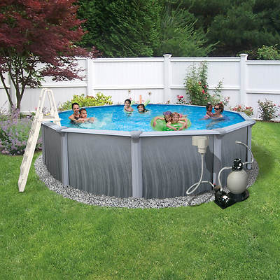 "Blue Wave Blue Wave Madagascar 18' X 52"" Aboveground Round Metal Wall Pool"