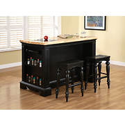 Powell Pennfield Kitchen Island and Stools - Black