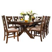 Powell Kraven 9-Pc. Acacia Dining Set - Dark Hazelnut