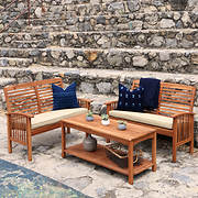 W. Trends 3-Pc. Acacia Patio Conversation Set - Brown
