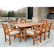 W. Trends 7-Pc. X-Back Acacia Patio Dining Set - Brown