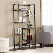 SEI Turk Metal and Glass Etagere - Matte Black