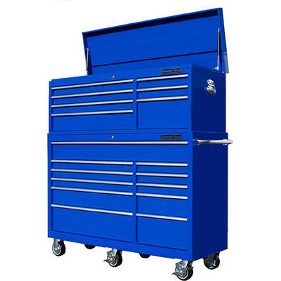 "Extreme Tools 56"" 18-Drawer Combination Tool Chest and Roller Cabinet - Blue"