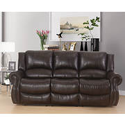 Abbyson Living Bradford Faux Leather Reclining Sofa - Dark Brown