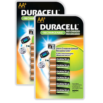 Duracell Rechargeable NiMH AA Batteries, 6 Count, 2-Pk