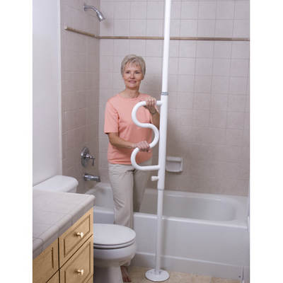Stander Security Pole with Curve Grab Bar - White