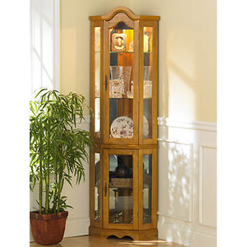 Michelle Lighted Corner Curio Cabinet - Golden Oak