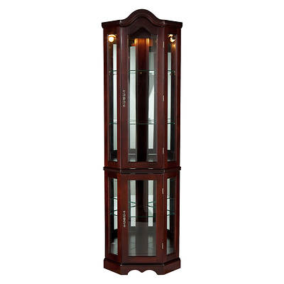Michelle Lighted Corner Curio Cabinet - Mahogany