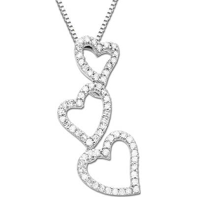 14k White Gold Round Diamond Triple-Heart Pendant