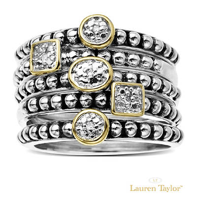 Lauren Taylor Sterling Silver and 14k Round Diamond Stack Rings