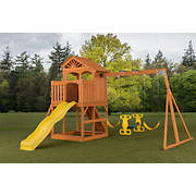 Creative Cedar Designs Timber Valley Wooden Playset with Wooden Roof