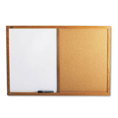 """Quartet 36"""" x 24"""" Combo Cork & Dry Erase Melamine Bulletin Board - White/Oak Frame"""