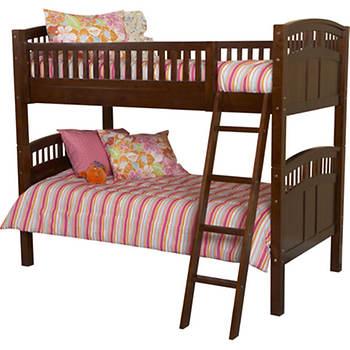Linon Caitlyn Twin-Size Bunk Beds - Walnut