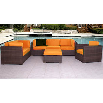 Atlantic Carmel 7-Pc. Patio Set with Bonus FeronGard Vinyl Preservative - Orange