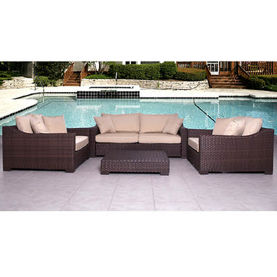 Atlantic San Diego 4-Piece Patio Set with Bonus FeronGard Vinyl Preservative - Antique Beige