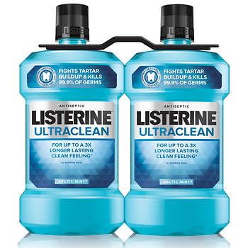 Listerine UltraClean Antiseptic Mouthwash, 1.5L, 2-Pk