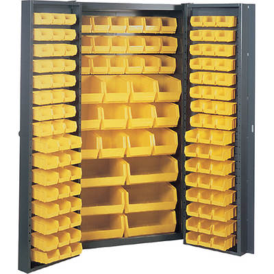 Edsal Welded Pocket Door Cabinet with 132 Plastic Bins