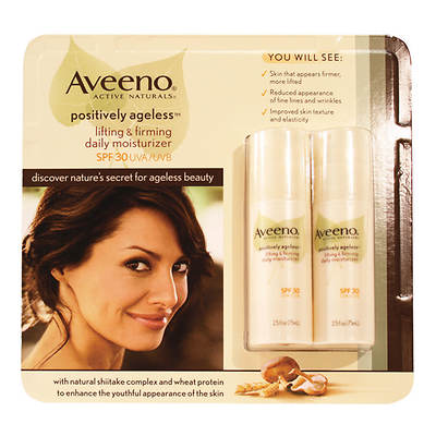 Aveeno Positively Ageless Daily Moisturizer SPF 30, 2.5 Fl. Oz., 2-Pk.