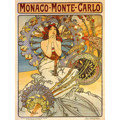 "Alphonse Mucha ""Monaco-Monte Carlo"" Giclee Art Print, 35"" x 47"""
