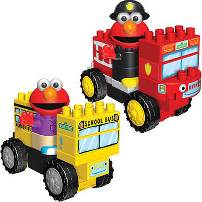 K'NEX Sesame Street Neighborhood Collection with Fire Truck and School Bus Building Sets