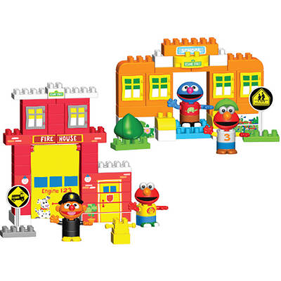 Kid K'NEX Sesame Street Neighborhood Collection with Firehouse and Schoolhouse Building Sets