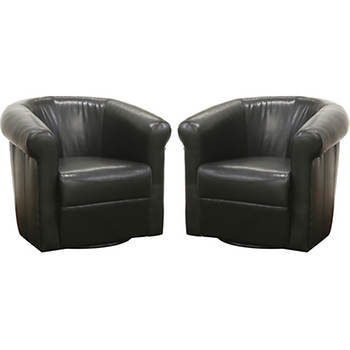 Baxton Studio Julian Faux Leather Club Chair, Set of 2- Espresso Brown