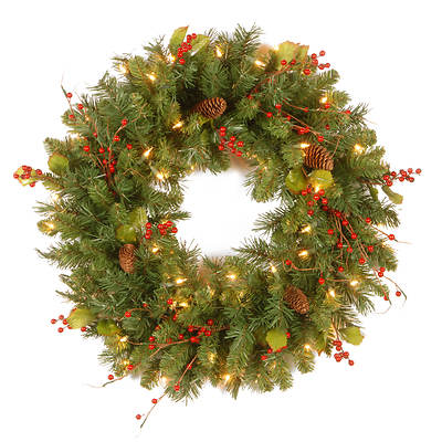 "24"" Pre-Lit Classical Collection Wreath with Red Berries, Cones and Holly Leaves - Clear"